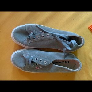 New without box grey suede Superga sneakers 38